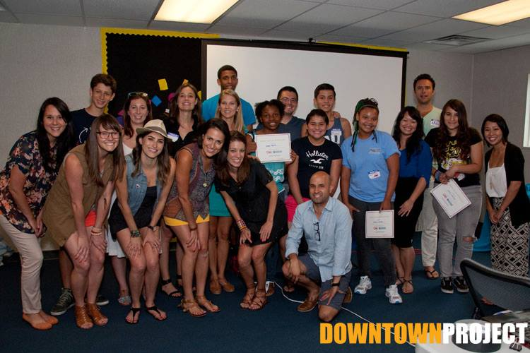 Students posed with the Catalyst Week participants after they completed their workshop.