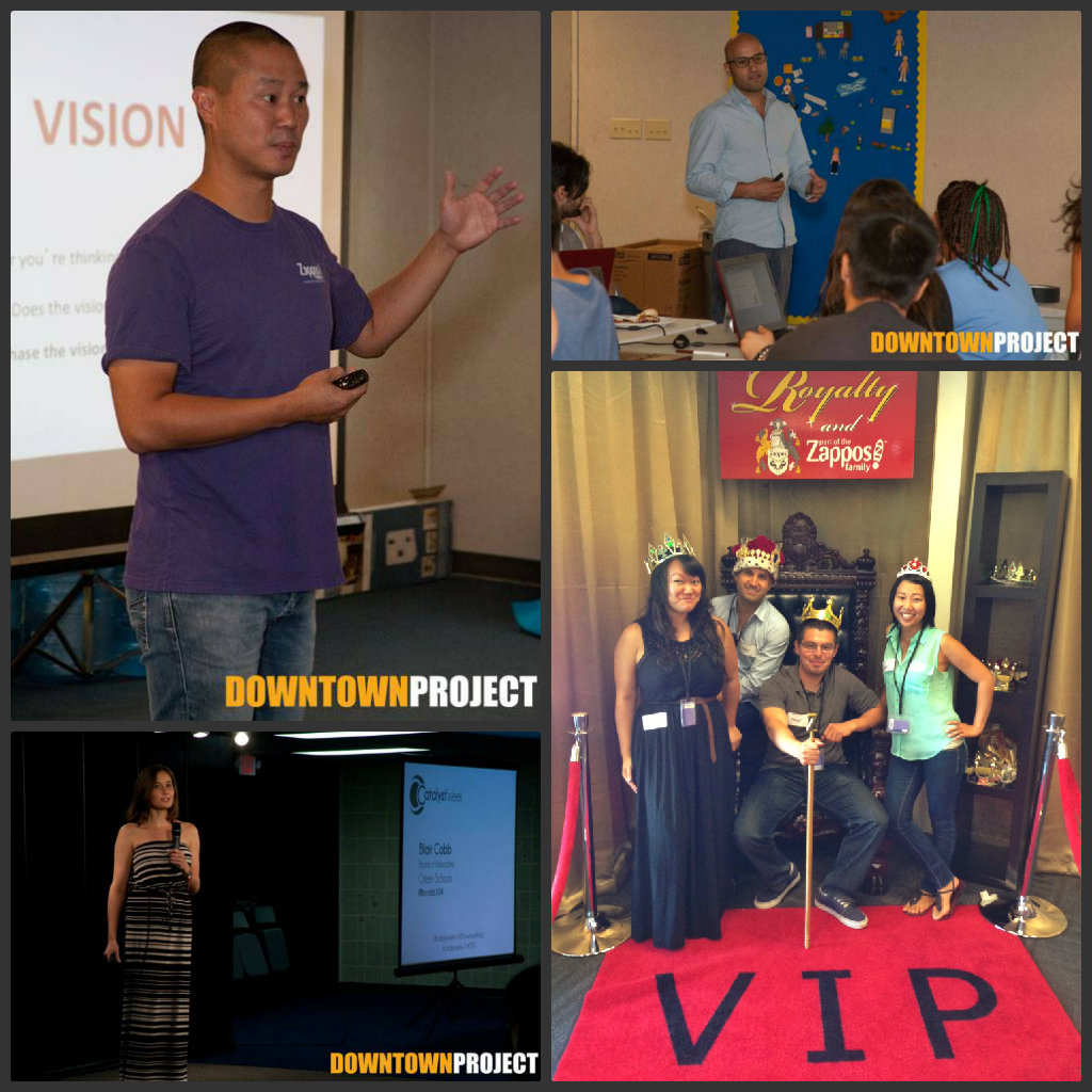 (Clockwise from top left) Tony Hsieh gives an inspirational talk to students; Ivan Bermudez kicks off the STEAM workshop; Stephanie Le, Ivan Bermudez, Victor Banuelos, and Jean Trinh take a tour of Zappos, and Blair Cobb speaks during the Catalyst Week talks.